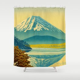 Japanese Woodblock Print Vintage Asian Art Colorful woodblock prints Mount Fuji Shower Curtain