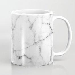 Pure White Real Marble Dark Grain All Over Coffee Mug