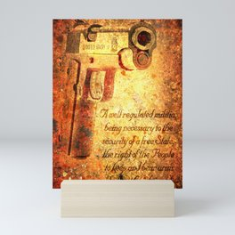M1911 Pistol And Second Amendment On Rusted Overlay Mini Art Print