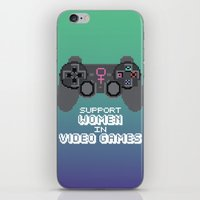 video games iPhone & iPod Skins featuring Support Women in Video Games by Inappropriately Adorable