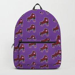 Purple roller skates, retro red checkered skates, skull heart Backpack