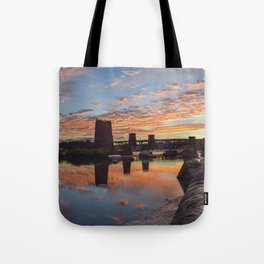 Panoramic River Sunset Tote Bag