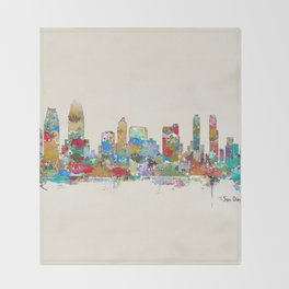 San Diego California skyline Throw Blanket