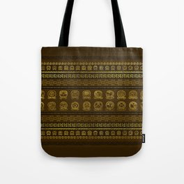 Maya Calendar Glyphs pattern Gold on Brown Tote Bag
