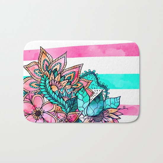 Floral watercolor modern pink teal stripes Bath Mat
