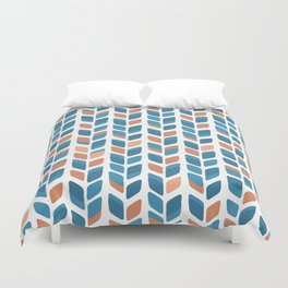 Mid Century Modern Minimalist Leaf Pattern of Stripes in Terracotta Orange and Turquoise Teal Blue Duvet Cover