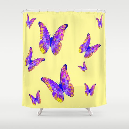 Purple Lilac Yellow Butterflies On Cream Color Shower Curtain By SharlesArt