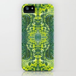 Psycho - Sea Turtle Illusions Swimming in a Yellow Happy Place by annmariescreations iPhone Case