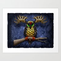 pinapple Art Prints featuring Pinapple Breasted MooseOwl by Joby Cummings