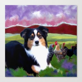 Rosie and her Chickens Canvas Print