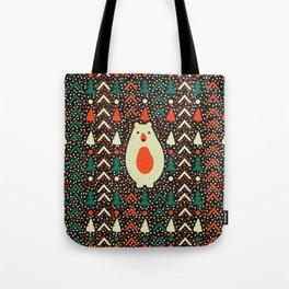 Bear, dots and Christmas trees Tote Bag