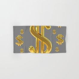 GOLDEN MONEY DOLLARS & CHARCOAL GREY  PATTERN MODERN ART Hand & Bath Towel
