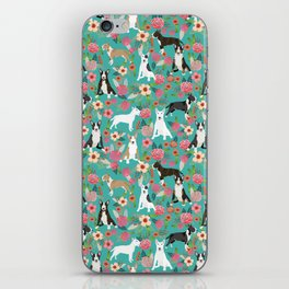 Bull Terrier dog breed pattern florals dog lover gifts pet friendly designs iPhone Skin