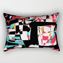 Abstract Boxes in Aqua, Red, Black, and Gold Rectangular Pillow
