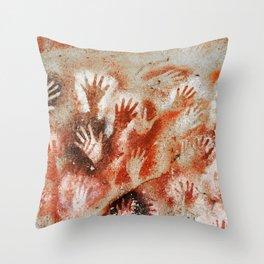 Cave Art Lascaux Hands Throw Pillow