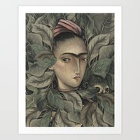 frida kahlo Art Prints featuring Frida Kahlo by Antonio Lorente