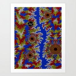 Authentic Aboriginal Art - Waterholes Corela Art Print
