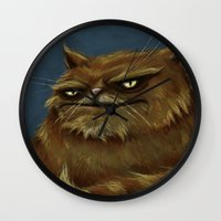fat Wall Clocks featuring Fat Cat by Havard Glenne