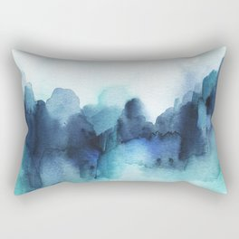 Wonderful blues Abstract watercolor Rectangular Pillow