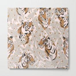 Mid-century modern tiger print Metal Print