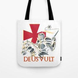 Knights Templar Cross Deus Vult Medieval Holy Warrior Crusader Tote Bag