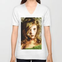 thrones V-neck T-shirts featuring Portrait of Natalie Dormer (tutors / game of thrones) by André Joseph Martin