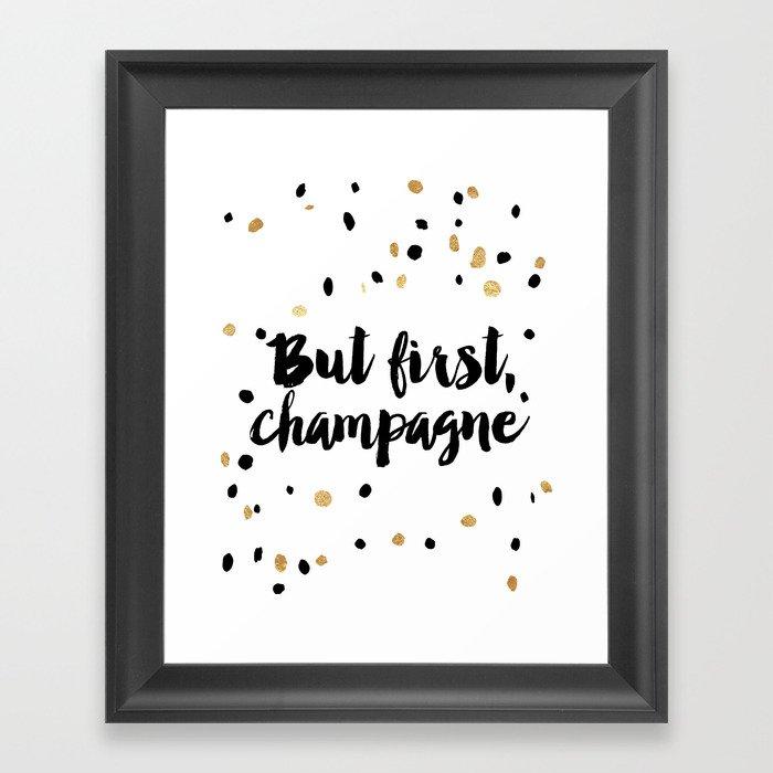 but first, champagne print kitchen decor kitchen wall art gold foil