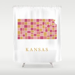 Kansas map Shower Curtain