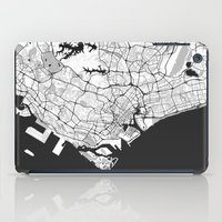 singapore iPad Cases featuring Singapore Map Gray by City Art Posters