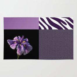 Purple Iris Flower and Zebra Stripes Patch Work Rug