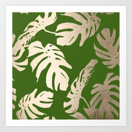 Palm Leaves White Gold Sands on Jungle Green Art Print