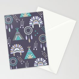 Indian Pattern Purple Stationery Cards