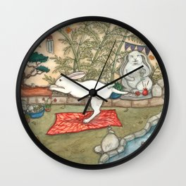 Yoga Bunny Wall Clock