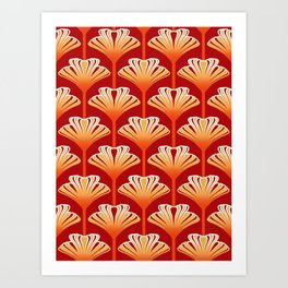 Art Deco Lily, Mandarin Orange and Gold Art Print