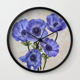 Pretty Periwinkle Poppies Wall Clock