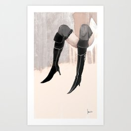Lady with shoes  Art Print
