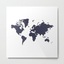World with no Borders - navy Metal Print