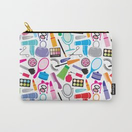 make up collection background (seamless pattern, beauty and makeup design) Carry-All Pouch