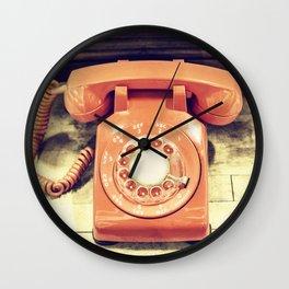 Vintage Orange Phone Wall Clock