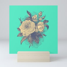 Teal Rose Illustration Mini Art Print