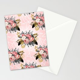 Romantic vintage roses and geometric design Stationery Cards