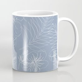 Seamless Exotic Hibiscus Tropical Palm Leaves Coffee Mug