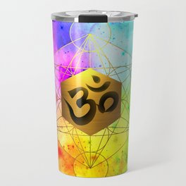 Sacred Geometry Metatron's Cube Om Chant Travel Mug