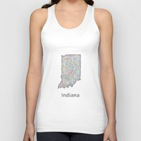 indiana Tank Tops featuring Indiana map by David Zydd