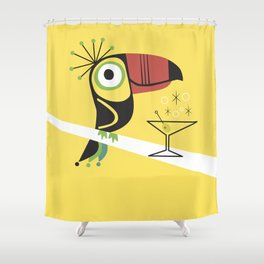 Swank Mid Century Modern Toucan Tiki Bird With Martini Shower Curtain