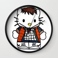 marty mcfly Wall Clocks featuring Hello Marty by Jedi Candice