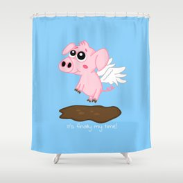 When Pigs Fly in the Year of the Pig Shower Curtain