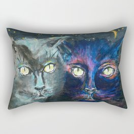 They Meet in the Night (Cats) Rectangular Pillow