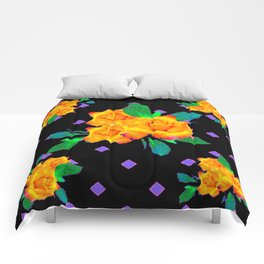 Black & Violet Golden Roses Pattern Comforters