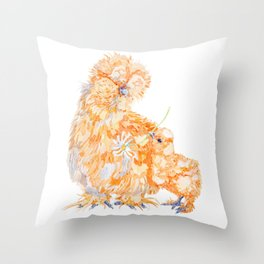 Silkie Chickens - Daisy Throw Pillow